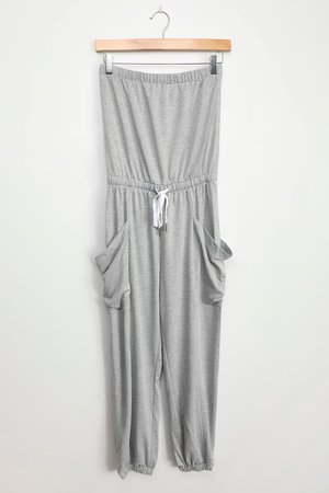 Heather Grey Jumpsuit - Strapless Jumpsuit - Jogger Jumpsuit