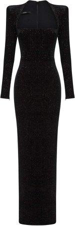 Alex Perry Houston Glittered Velvet Maxi Dress