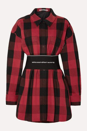 Belted Checked Cotton-twill Shirt - Red
