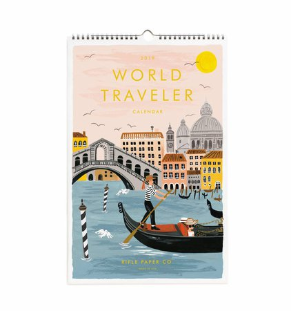 2019 World Traveler Wall Calendar by RIFLE PAPER Co. | Made in USA