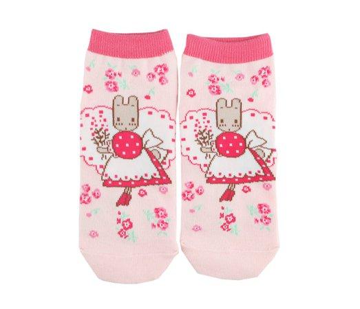 Marron Cream Ankle Socks: Flowers - Sanrio