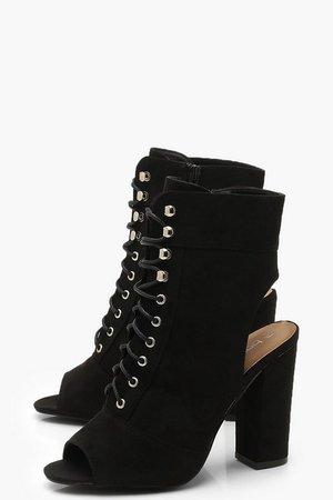 Peeptoe Lace Up Open Back Shoe Boots | Boohoo