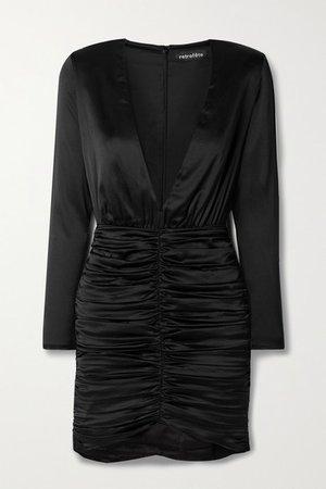 Brea Ruched Silk-blend Satin Mini Dress - Black