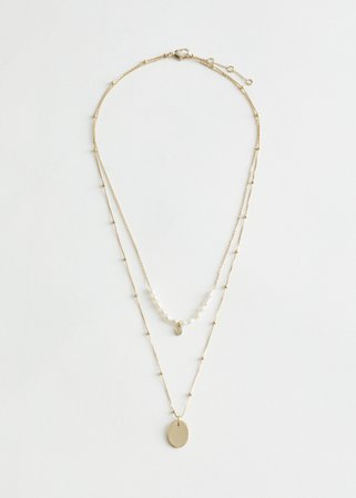 Duo Chain Pearl Pendant Necklace - Gold - Necklaces - & Other Stories
