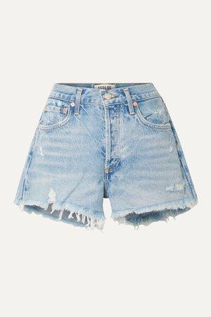 Light denim Parker distressed denim shorts | AGOLDE | NET-A-PORTER