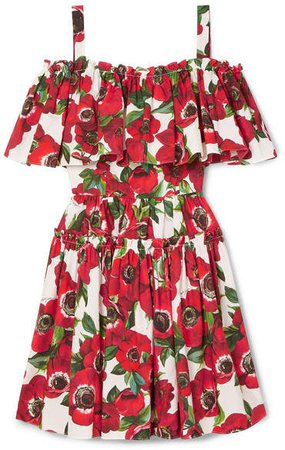 Cold-shoulder Floral-print Cotton-poplin Mini Dress - Red