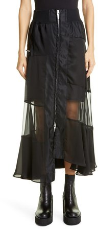 Asymmetrical Front Zip Skirt