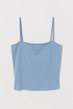 Cropped Jersey Camisole Top - Blue