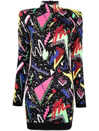Balmain abstract-intarsia Knitted Dress - Farfetch