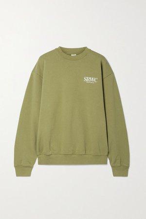 Upper East Side Printed Cotton-jersey Sweatshirt - Dark green