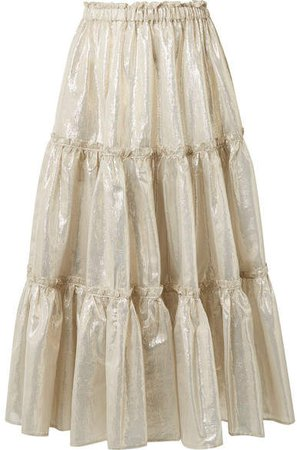 Tiered Cotton-blend Lamé Midi Skirt - Gold
