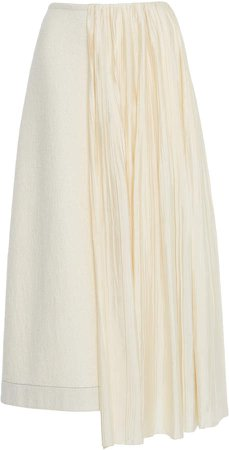 Jil Sander Asymmetric Cotton-Wool Skirt