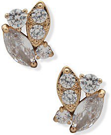 Anne Klein Gold-Tone Crystal Cluster Button Earrings & Reviews - Earrings - Jewelry & Watches - Macy's
