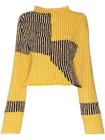Shop yellow Eckhaus Latta ribbed patchwork-effect jumper with Express Delivery - Farfetch