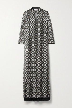 Embellished Satin-trimmed Organza Maxi Dress - Black