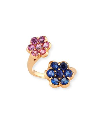 Bayco 18K Rose Gold Pink & Blue Sapphire Flower Bypass Ring