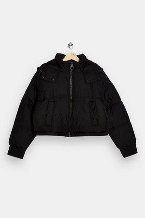 PETITE Black Cropped Puffer Jacket | Topshop