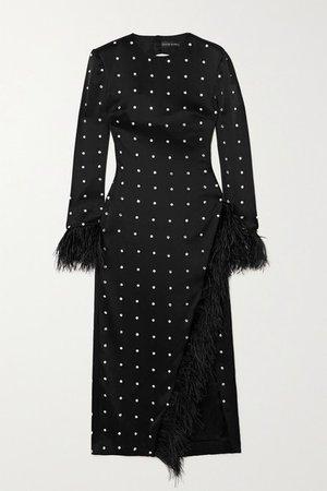 Open-back Feather-trimmed Crystal-embellished Satin Midi Dress - Black