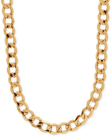 "Italian Gold 22"" Curb Link Chain 22"" Necklace in 10k Gold"