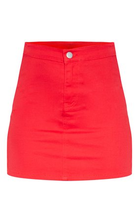 Red Disco Fit Denim Skirt PrettyLittleThing