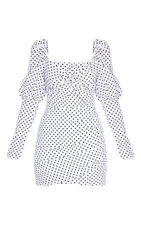 White Polka Dot Puff Sleeve Twist Bodycon Dress | PrettyLittleThing USA