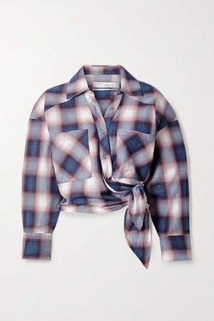 Camde Checked Cotton-flannel Wrap Shirt - Blue
