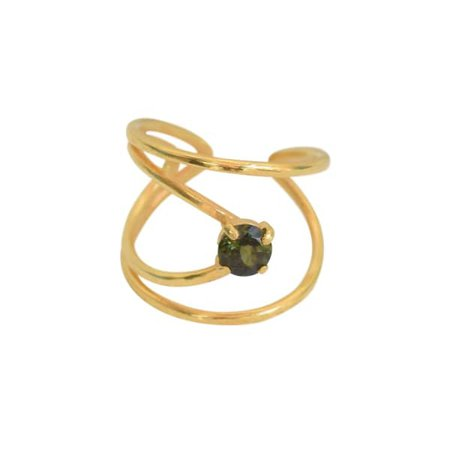 Gold Plated Silver Rhombus Ring With Green Tourmaline | Elena Jewelry Concepts | Wolf & Badger