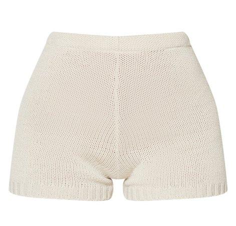 knit cream shorts
