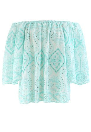 Off-Shoulder Flare Sleeves Embroidered Eyelet Top - Retro, Indie and Unique Fashion