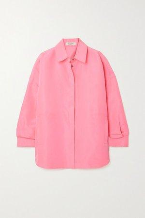 Oversized Neon Silk Shirt - Pink