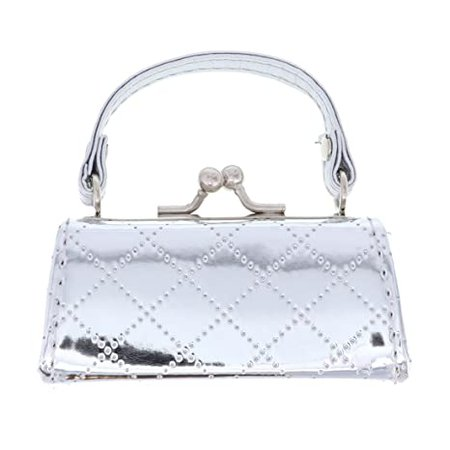 Amazon.com: Silver Metallic Quilted Lipstick Case with Handle Mini Coin Purse: Beauty
