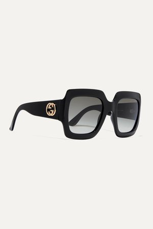 Black Pop Web oversized square-frame acetate sunglasses   Gucci   NET-A-PORTER