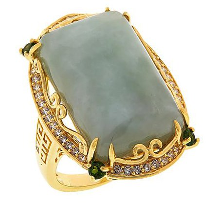 Jade of Yesteryear emerald cut jade and multi-gemstone ring
