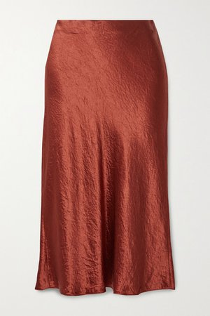 Hammered-satin Midi Skirt - Brick