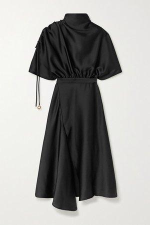 Santorini Draped Satin Midi Dress - Black