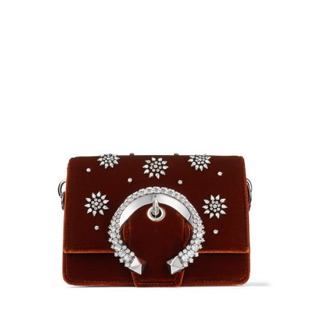Rust Velvet Shoulder Bag with Crystal Posey Embroidery and Crystal Buckle  MADELINE SHOULDER/S  Autumn Winter 19  JIMMY CHOO