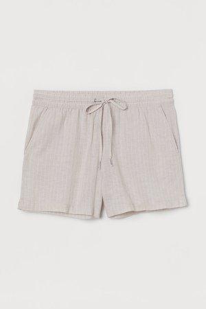 Linen-blend Shorts - Beige
