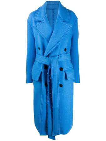 Blue AMI double-breasted belted coat - Farfetch