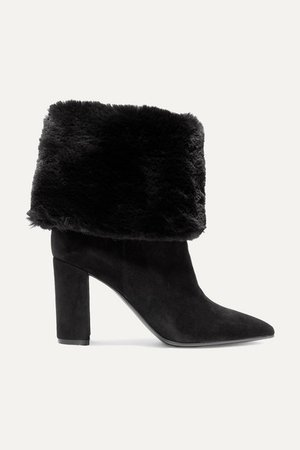 85 Suede And Faux Fur Ankle Boots - Black
