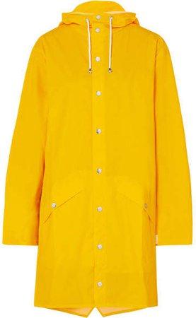 Hooded Matte-pu Raincoat - Yellow