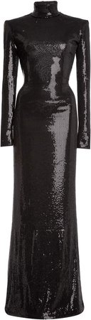 David Koma Sequined-Jerse Gown