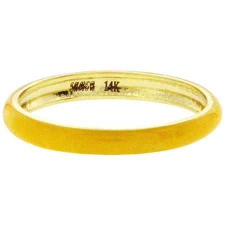 Fancy Yellow Color Enamel 14 Karat Yellow Gold Band Ring
