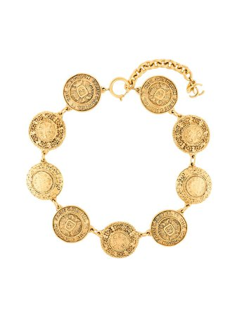 Chanel Pre-Owned logo coin chain necklace gold NL021700 - Farfetch