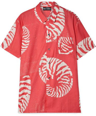 Double Rainbouu - Printed Cotton-voile Shirt - Papaya