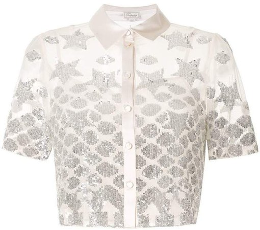 sheer sequin embroidered shirt