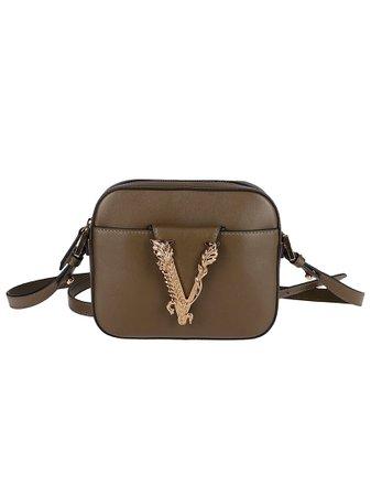 Khaki Green Leather Shoulder Bag