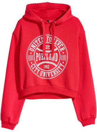 Short Hooded Sweatshirt - Red