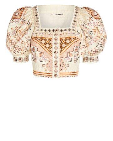 Ulla Johnson Kalila Embroidered Crop Top | INTERMIX®