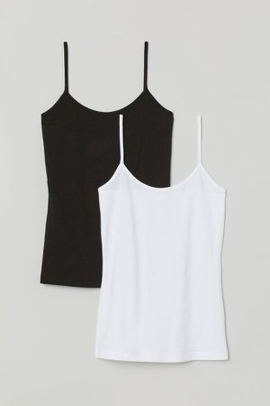 2-pack Jersey Tank Tops - Black