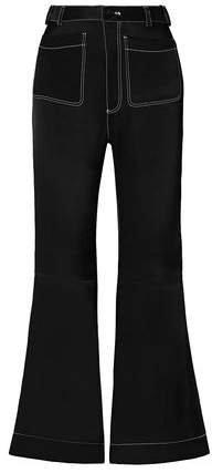 Satin-twill Flared Pants